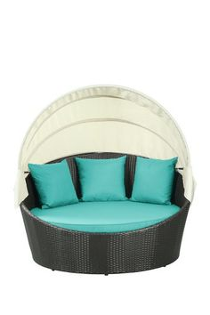Siesta Outdoor Wicker Patio Canopy Bed - Espresso/Turquoise by California Modern Classics on @HauteLook