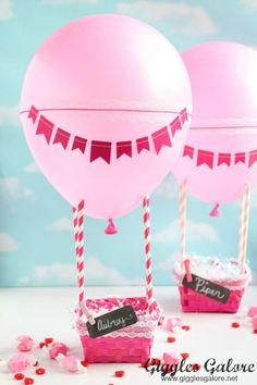 Love is in the air! Collect those sweet love notes in this adorable Hot Air Balloon Valentine's Day Box.