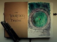 "The Journey Begins... by Kinko-White.deviantart.com on @deviantART ""Front page of my diary:)  watercolor, ink pen, white gel pen"" // Ohhhhh, I want. :)"
