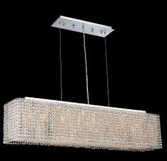 Krane Series 8-Light Chrome 46'' Rectangular Box Pendant Chandelier with of European, Swarovski, or Colored Crystals SKU# 11266
