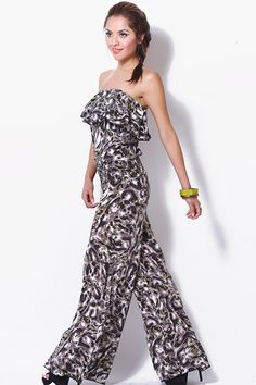 #clubwear21.com #dress #fashion gray animal print ruffle strapless jumpsuit-$36.00