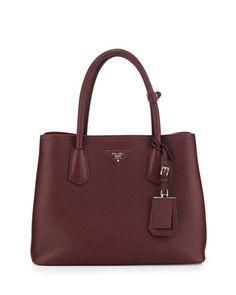 Vitello Daino Small Double Bag, Bordeaux/Red (Granato+Scarlatto) by Prada at Neiman Marcus.