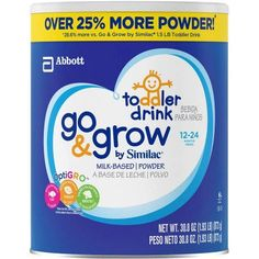 Go & Grow by Similac Milk-Based Toddler Drink, Value Size, 1.93lb (Pack of 6)