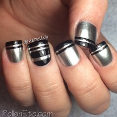 """nail art - French tips + accent nail: OPI """"Push and Shove"""" for the base + Cult Nails """"Nevermore"""" for the stripes - Instagram photo by mcpolish"""