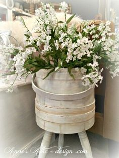 DIY Vintage White Barrel Planter !