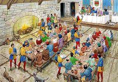 Er waren in het kasteel veel mensen die de heer, keizer of koning bedienen. Ze maken ook lekkere buffetten klaar en andere soort eten.