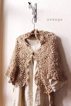 orange crochet stole