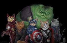 Las ilustraciones de los gatos superheroe   OLDSKULL