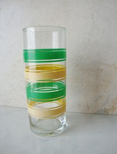 Vintage Libbey Tumbler, Green and Yellow Stripes on Etsy, $6.00