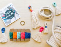 DIY Tassel Making Kit and Instructions. Make your own large or mini tassels with cream or black cotton rope and waxed twine. Block colour tassels in every size for decorating, accessorising, crafting and more. Have heaps of fun getting addicted to making your own tassels. it is