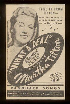 1945 Martha Milton photo Capitol Records trade vintage print ad