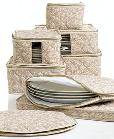 Fine China Storage Set, 8 Piece Hudson Damask I need these for my china. Diy Organizer, Storage Sets, Storage Containers, Dish Storage, China Storage, Holiday Dinnerware, Appliance Covers, Entertainment Table, Decoration Table