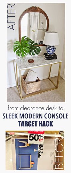 From Student Desk to Sleek Modern Marble Console; Target Hack from Paper Daisy Designs diy home office decor idea