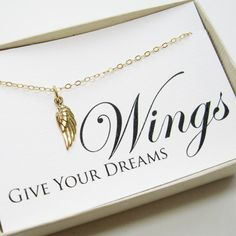 Wing Necklace, 14k gold filled, bronze - Graduation Gift, Graduate Gift, Class of 2013, Graduation necklace, Graduation Card Jewelry