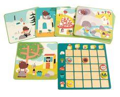 Un jeu ludique pour apprendre à se situer dans l'espace. L'enfant prend une illustration et étudie la place de chaque animal. Puis il place sur son tableau les jetons animaux aux intersections correspondantes entre les positions et les éléments du décor. Contient : 1 tableau (20 x 20 cm), 24 cartes (17 x 17 cm), 5 jetons animaux. Dès 4 ans.