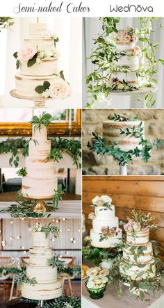 Top 10 Semi-naked Wedding Cakes We've Ever Seen – Süßes – … – Beautiful Wedding Cake Designs Seminaked Wedding Cake, Floral Wedding Cakes, Amazing Wedding Cakes, Wedding Cake Rustic, Wedding Cupcakes, Wedding Cake Toppers, Parisian Wedding, Dream Wedding, Wedding Dress