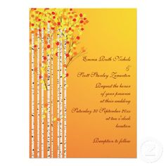#Birch #trees in #fall colors #custom  #wedding #invitation with #yellow, #orange, #red #leaves and #white #bark, part of a wedding set. #weddings, #bride, #fallwedding, #autumnwedding #autumn