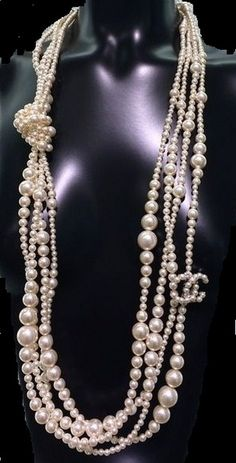 Chanel: 2014 Runway Chanel Iconic Multi Strand Pearl CC Necklace New | MALLERIES