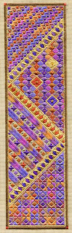 Long Autumn Panel x on 18 ct sandstone canvas - by Laura J Perin Designs Broderie Bargello, Bargello Needlepoint, Needlepoint Stitches, Needlepoint Canvases, Needlework, Crewel Embroidery, Embroidery Patterns, Needlepoint Patterns, Canvas Patterns