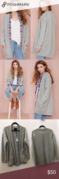 JUst female play it cool Vico wool cardigan Bring the cozy with you all day long in this wool blend cardigan. An intricately constructed oversized cable knit and flattering fit will make this a new winter layering favorite. By Just Female. Sold out at nasty gal   FIT & FEATURES: / Oversized body with fitted sleeves / No closures / 2 front welt pockets PRODUCT DETAILS: 80% lambswool / 20% nylon / Machine wash cold / Dry flat Nasty Gal Sweaters Cardigans
