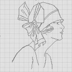 flapper looking chick Cross Stitching, Cross Stitch Embroidery, Embroidery Patterns, Hand Embroidery, Cross Stitch Patterns, Blackwork, Cross Stitch Heart, Cross Stitch Alphabet, Portrait Au Crayon