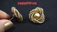 【ビーズステッチ】幾何学模様のフラワーピアス☆作り方 How to make : Geometric pattern Flower earri. Seed Bead Earrings, Flower Earrings, Beaded Earrings, Earrings Handmade, Beaded Bracelets, Pearl Earrings, Beaded Bead, Seed Beads, Bead Jewelry