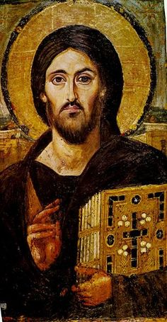 Christ Pantocrator. Encaustic icon from the mid-6th century AD, St Catherine's Monastery, Sinai.  There is at least one icon from Mt. Sinai that even people far from the Church know: the famous Christ Pantocrator, one of the most ancient iconographic depictions of Christ, painted in Constantinople in the mid-sixth century and given to the monastery at Mt. Sinai.