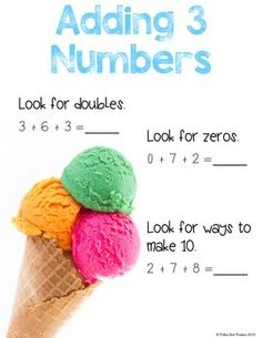 Use this anchor chart in the classroom to help your students find tips on how to add three numbers.