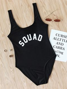 Squad - Slogan Print Scoop Neck Beach Swimsuit Size Available: S,M,L,XL Length(cm): Bust(cm): Pin Up Swimwear, Trendy Swimwear, Cute Swimsuits, Bikini Swimwear, Summer Bathing Suits, Girls Bathing Suits, Summer Suits, Beachwear, Cute Outfits