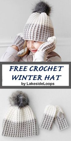 Crochet hat pattern - womens hat- Make a winter hat - A Crafty Life # crochet hats for women Free Crochet Winter Hat Bonnet Crochet, Crochet Beanie, Knitted Hats, Crochet Santa Hat, Crochet For Kids, Free Crochet, Knit Crochet, Crochet Twist, Crochet Stitches