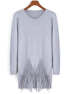 Shop Grey Round Neck Tassel Loose Knitwear online. SheIn offers Grey Round Neck Tassel Loose Knitwear & more to fit your fashionable needs.