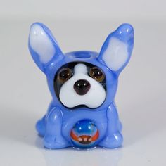 Periwinkle Easter Dog Bunny Lampwork Bead  Boston by maybeads, $19.00