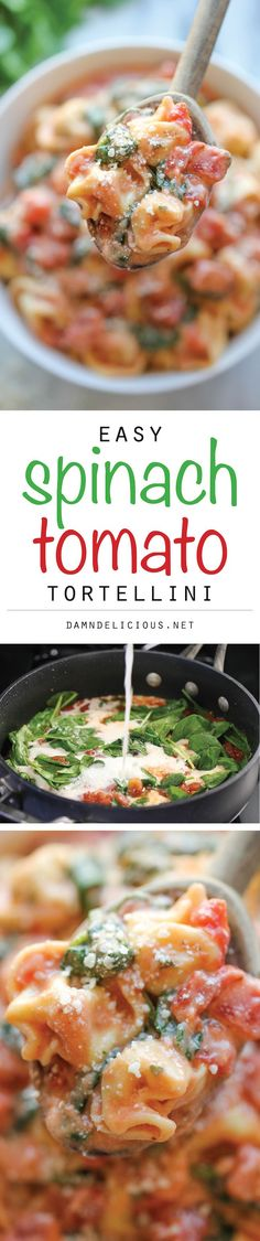 Spinach Tomato Tortellini - The most unbelievably creamy tortellini you will make in just 15 min. Doesn't get easier or tastier than that! Is there gf tortellini? Vegetarian Recipes, Cooking Recipes, Healthy Recipes, Spinach And Tomato Tortellini, Garlic Pasta, Creamy Spinach, Pasta Dishes, Food Dishes, Tarte Caramel