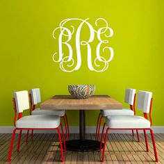 Monogram Wall Decal  Fancy Initials Wall by michellechristina, $11.00