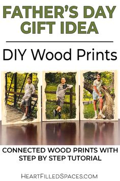 Are you looking for a personal, handmade gift for Father's Day? Dad will love this rustic photo collage of his favorite people!  Learn the best method for transferring pictures, creating simple wood frames and connecting them with hardware.  This is a straightforward DIY with a step by step tutorial. #DIY #Fathersday #fathersdaycrafts #diyprojects #gifts #ideas Diy Father's Day Gifts, Father's Day Diy, Guy Gifts, I Choose Happy, Craft Tutorials, Diy Projects, Fathersday Crafts, Home Crafts, Diy Crafts