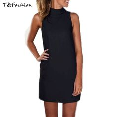 Summer Dress Black Beige Women Dress Sleeveless A-line Casual Vestido O-Neck Women's Mini Dress
