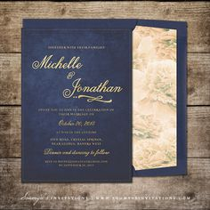 Navy Blue and Silver Grey Wedding Invitation Star Wedding