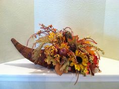 Cornucopia Basket Faux Floral Centerpiece - Thanksgiving Cornucopia - Wicker Cornucopia - Horn of Plenty Centerpiece