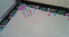 Border rangoli designs are usually made at the entrance of pooja room or the house. People also make border rangoli along the exterior wall of the house. Rangoli Designs Photos, Beautiful Rangoli Designs, Pooja Rooms, Indian Festivals, Photo Galleries, Gallery, Roof Rack