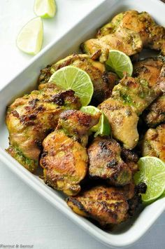 An easy make-ahead meal for busy nights full of your favourite Thai flavours. The marinade for this easy recipe blends and balances those flavours harmoniously. Cilantro jalapeño ginger basil garlic and coriander all play tog Chicken Flavors, Baked Chicken Recipes, Make Ahead Meals, Easy Meals, Meals That Freeze Well, Frango Chicken, Asian Recipes, Healthy Recipes, Thai Recipes