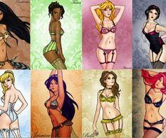 Jû suki Kenji: Beauty & Co ♥: Les princesses Disney revisitées ♥ Emo Disney Princess, Naughty Disney Princesses, Twisted Disney Princesses, Disney Princess Tattoo, Punk Princess, Disney Lingerie, Princess Lingerie, Comic Art Girls, Comics Girls