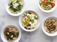 Skip traditional sweet oatmeal toppings in favor of these spins that turn oats into a delicious savory breakfast, quick lunch or easy snack.