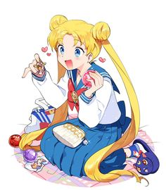 Usagi with some of the BSSM 20th Anniversary Merchandise.