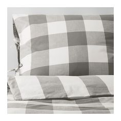IKEA - EMMIE RUTA, Duvet cover and pillowcase(s), Full/Queen (Double/Queen), , Yarn-dyed; the yarn is dyed before weaving; gives the bedlinens a soft feel.Decorative ribbons keep the comforter in place.You can easily vary the look in your bedroom with this duvet cover, because the sides have different patterns.