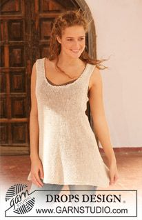 """Knitted DROPS tunic in """" Bomull-Lin"""". Size S - XXXL. ~ DROPS Design"""