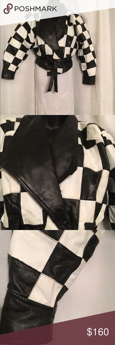 Vintage Cache checker leather jacket Throwback race 🏁 car checker . Black & White  leather jacket. Size M, excellent vintage condition. Barely worn. Cache Jackets & Coats