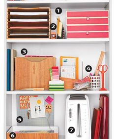 Organized paperwork in a bookcase - I like the thought of putting a cork board for invites (5)