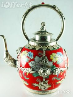 CHINESE TIBET SILVER DRAGON KYLIN LID RED PORCELAIN TEAPOT