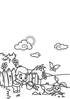 ausmalbild frühling - kleiner junge spielt mit hund zum