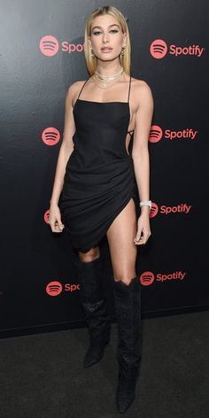 Keeping the LBD trend going, Hailey Baldwin stepped out in a micro mini with an open back and side slit. Over-the-knee boots balanced the short dress and tons of necklaces added sparkle to the outfit. Hailey Baldwin Model, Hayley Baldwin, Alesso, Tuxedo Dress, Celebs, Celebrities, Tucson, Look Fashion, Formal